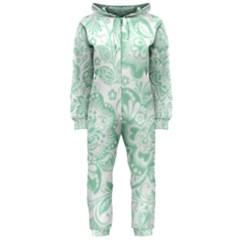 Mint green And White Baroque Floral Pattern Hooded Jumpsuit (Ladies)