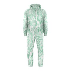 Mint Green And White Baroque Floral Pattern Hooded Jumpsuit (kids)