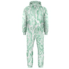 Mint Green And White Baroque Floral Pattern Hooded Jumpsuit (men)