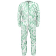 Mint green And White Baroque Floral Pattern OnePiece Jumpsuit (Men)