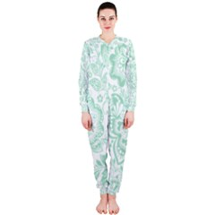 Mint green And White Baroque Floral Pattern OnePiece Jumpsuit (Ladies)