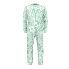 Mint green And White Baroque Floral Pattern OnePiece Jumpsuit (Kids)