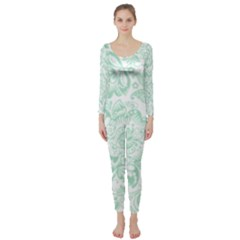 Mint green And White Baroque Floral Pattern Long Sleeve Catsuit