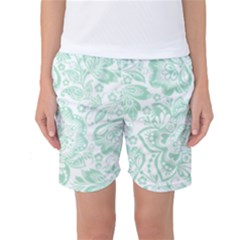 Mint green And White Baroque Floral Pattern Women s Basketball Shorts