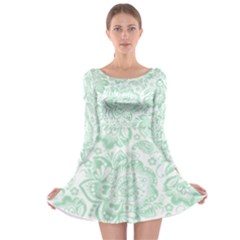 Mint green And White Baroque Floral Pattern Long Sleeve Skater Dress