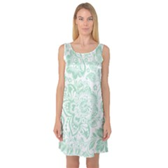 Mint Green And White Baroque Floral Pattern Sleeveless Satin Nightdresses