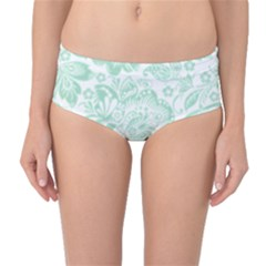 Mint Green And White Baroque Floral Pattern Mid Waist Bikini Bottoms
