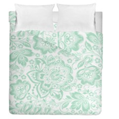 Mint Green And White Baroque Floral Pattern Duvet Cover (full/queen Size)