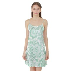 Mint green And White Baroque Floral Pattern Satin Night Slip