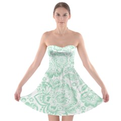 Mint green And White Baroque Floral Pattern Strapless Bra Top Dress