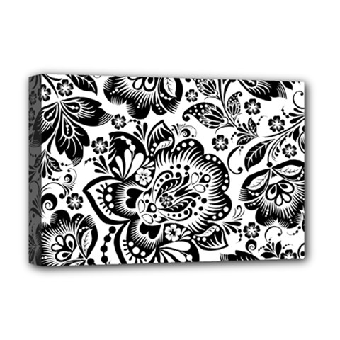 Black Floral Damasks Pattern Baroque Style Deluxe Canvas 18  x 12
