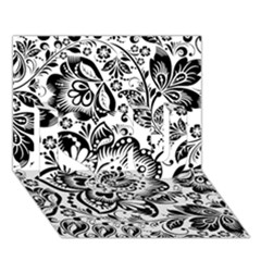Black Floral Damasks Pattern Baroque Style I Love You 3D Greeting Card (7x5)