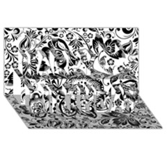 Black Floral Damasks Pattern Baroque Style Happy Birthday 3D Greeting Card (8x4)