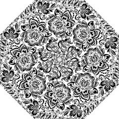 Black Floral Damasks Pattern Baroque Style Golf Umbrellas