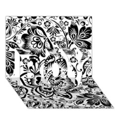 Black Floral Damasks Pattern Baroque Style BOY 3D Greeting Card (7x5)