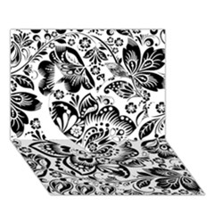 Black Floral Damasks Pattern Baroque Style Heart 3D Greeting Card (7x5)