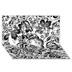 Black Floral Damasks Pattern Baroque Style Twin Hearts 3D Greeting Card (8x4)