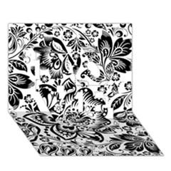 Black Floral Damasks Pattern Baroque Style Love 3d Greeting Card (7x5)