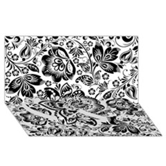 Black Floral Damasks Pattern Baroque Style Twin Heart Bottom 3d Greeting Card (8x4)