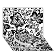 Black Floral Damasks Pattern Baroque Style Circle Bottom 3D Greeting Card (7x5)
