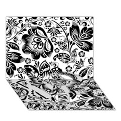 Black Floral Damasks Pattern Baroque Style Love Bottom 3d Greeting Card (7x5)
