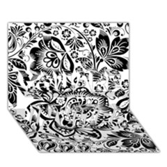 Black Floral Damasks Pattern Baroque Style YOU ARE INVITED 3D Greeting Card (7x5)