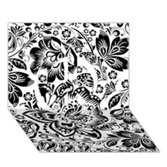 Black Floral Damasks Pattern Baroque Style Peace Sign 3D Greeting Card (7x5)