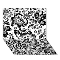Black Floral Damasks Pattern Baroque Style Circle 3D Greeting Card (7x5)