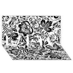 Black Floral Damasks Pattern Baroque Style PARTY 3D Greeting Card (8x4)