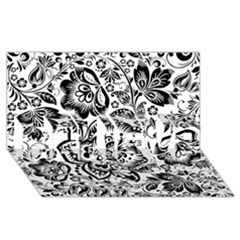 Black Floral Damasks Pattern Baroque Style BELIEVE 3D Greeting Card (8x4)