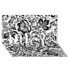 Black Floral Damasks Pattern Baroque Style HUGS 3D Greeting Card (8x4)