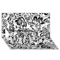 Black Floral Damasks Pattern Baroque Style Best Wish 3D Greeting Card (8x4)
