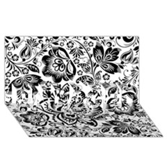 Black Floral Damasks Pattern Baroque Style ENGAGED 3D Greeting Card (8x4)