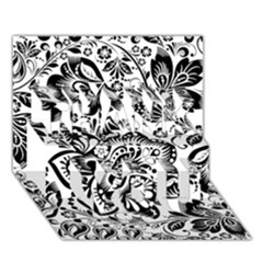 Black Floral Damasks Pattern Baroque Style THANK YOU 3D Greeting Card (7x5)