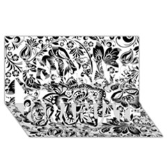 Black Floral Damasks Pattern Baroque Style Congrats Graduate 3D Greeting Card (8x4)