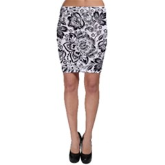 Black Floral Damasks Pattern Baroque Style Bodycon Skirts