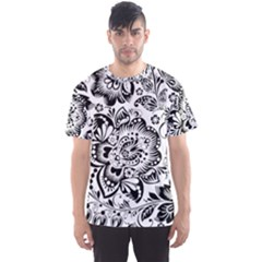 Black Floral Damasks Pattern Baroque Style Men s Sport Mesh Tees