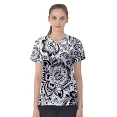 Black Floral Damasks Pattern Baroque Style Women s Sport Mesh Tees
