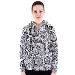 Black Floral Damasks Pattern Baroque Style Women s Zipper Hoodies