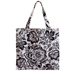 Black Floral Damasks Pattern Baroque Style Zipper Grocery Tote Bags