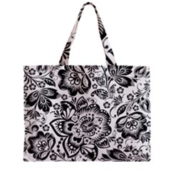 Black Floral Damasks Pattern Baroque Style Zipper Tiny Tote Bags