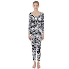 Black Floral Damasks Pattern Baroque Style Long Sleeve Catsuit