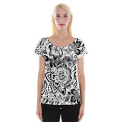 Black Floral Damasks Pattern Baroque Style Women s Cap Sleeve Top