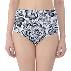 Black Floral Damasks Pattern Baroque Style High Waist Bikini Bottoms