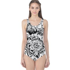 Black Floral Damasks Pattern Baroque Style Women s One Piece Swimsuits