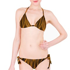 Shiny Silk Golden Bikini Set