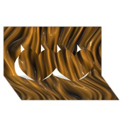 Shiny Silk Golden Twin Hearts 3D Greeting Card (8x4)