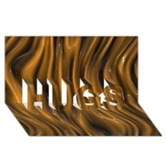 Shiny Silk Golden Hugs 3d Greeting Card (8x4)