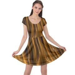 Shiny Silk Golden Cap Sleeve Dresses