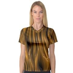 Shiny Silk Golden Women s V Neck Sport Mesh Tee
